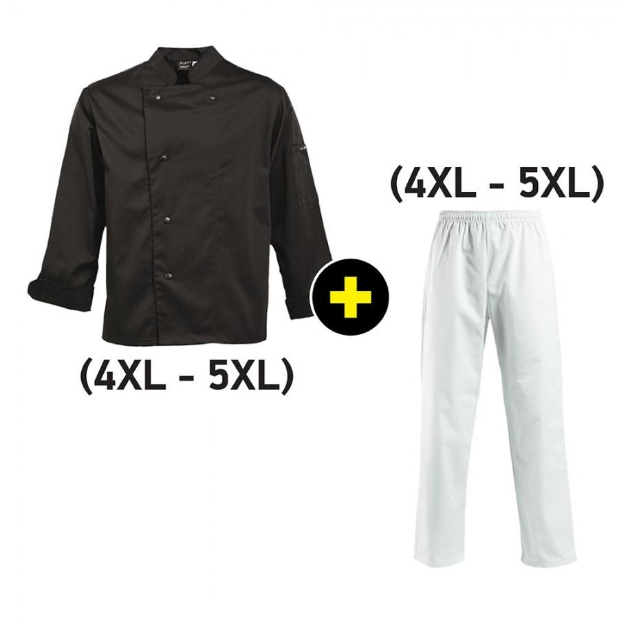 Σετ Μάγειρα (Σεφ) Σακάκι μαύρο (4xl-5xl) και Παντελόνι άσπρο (4xl-5xl) Ρούχα Μάγειρα (Σεφ)